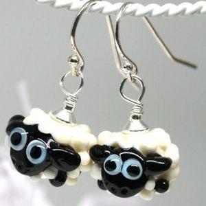Handmade Lampwork Glass Sheep Earrings